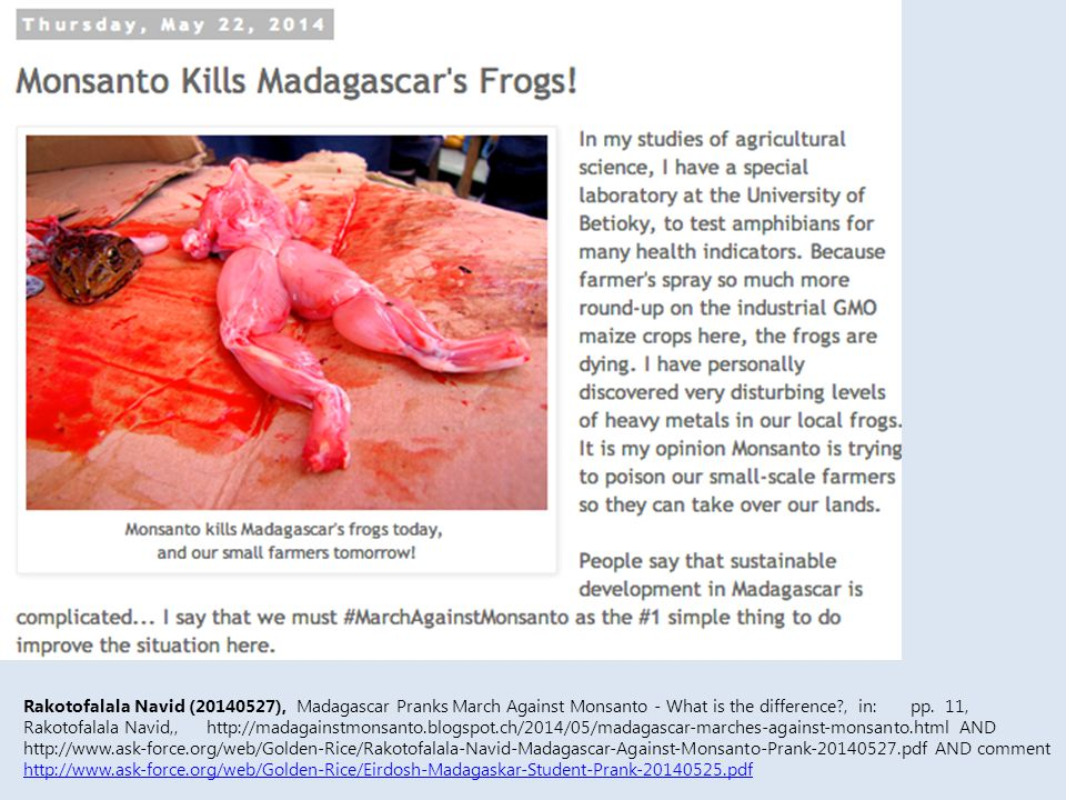 Rakotofalala Navid (20140527), Madagascar Pranks March Against Monsanto - What is the difference , in: pp.