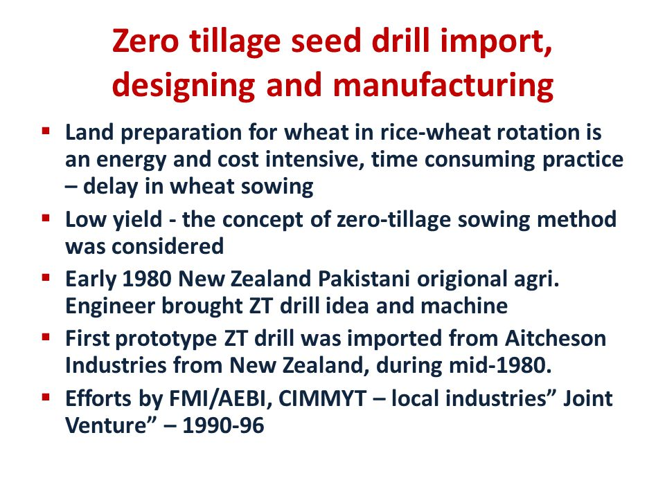 Zero tillage seed drill import, designing and manufacturing