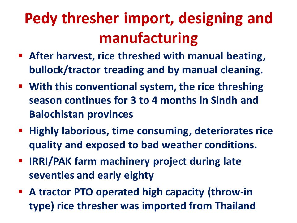 Pedy thresher import, designing and manufacturing