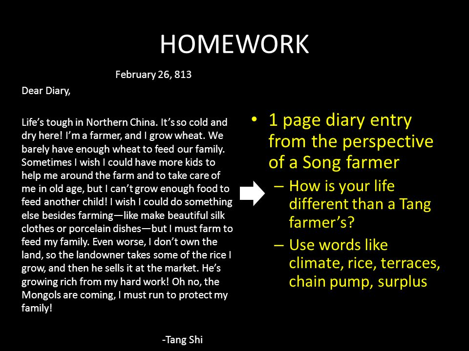 HOMEWORK 1 page diary entry from the perspective of a Song farmer