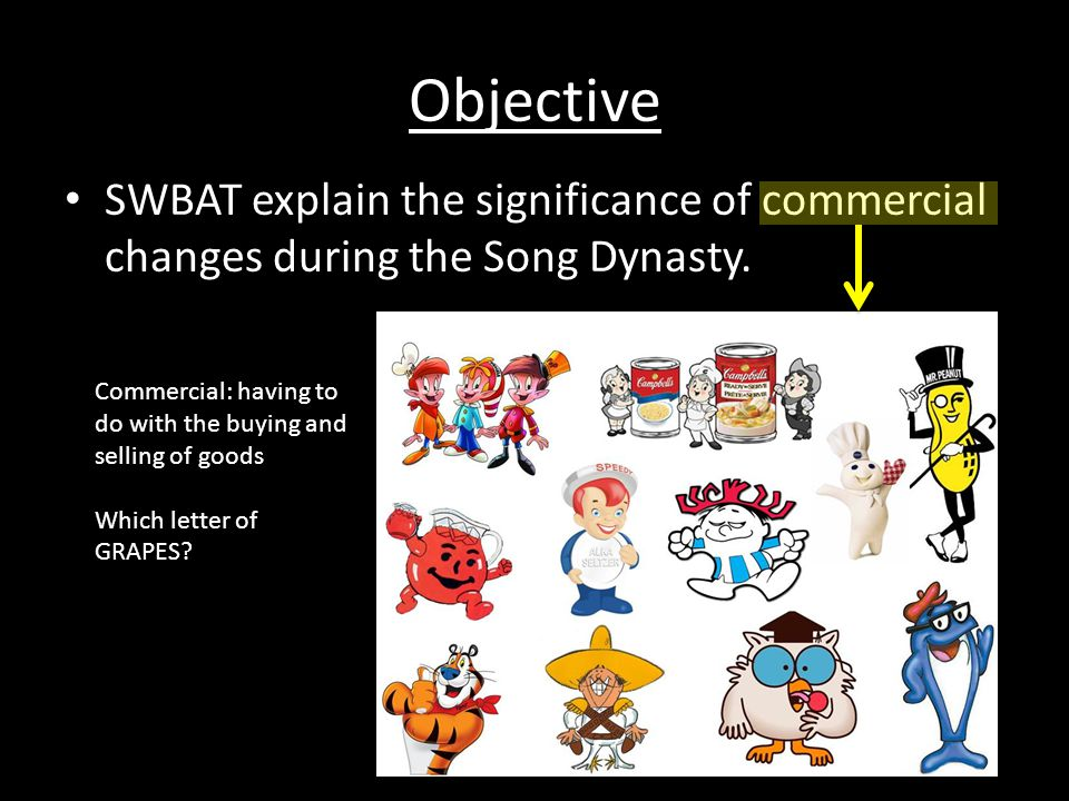 Objective SWBAT explain the significance of commercial changes during the Song Dynasty.