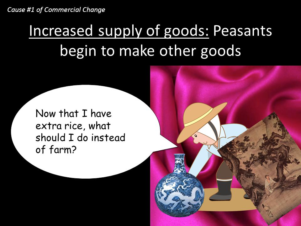 Increased supply of goods: Peasants begin to make other goods