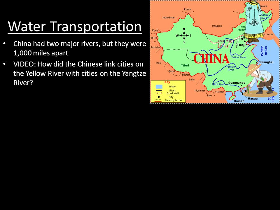 Water Transportation China had two major rivers, but they were 1,000 miles apart.
