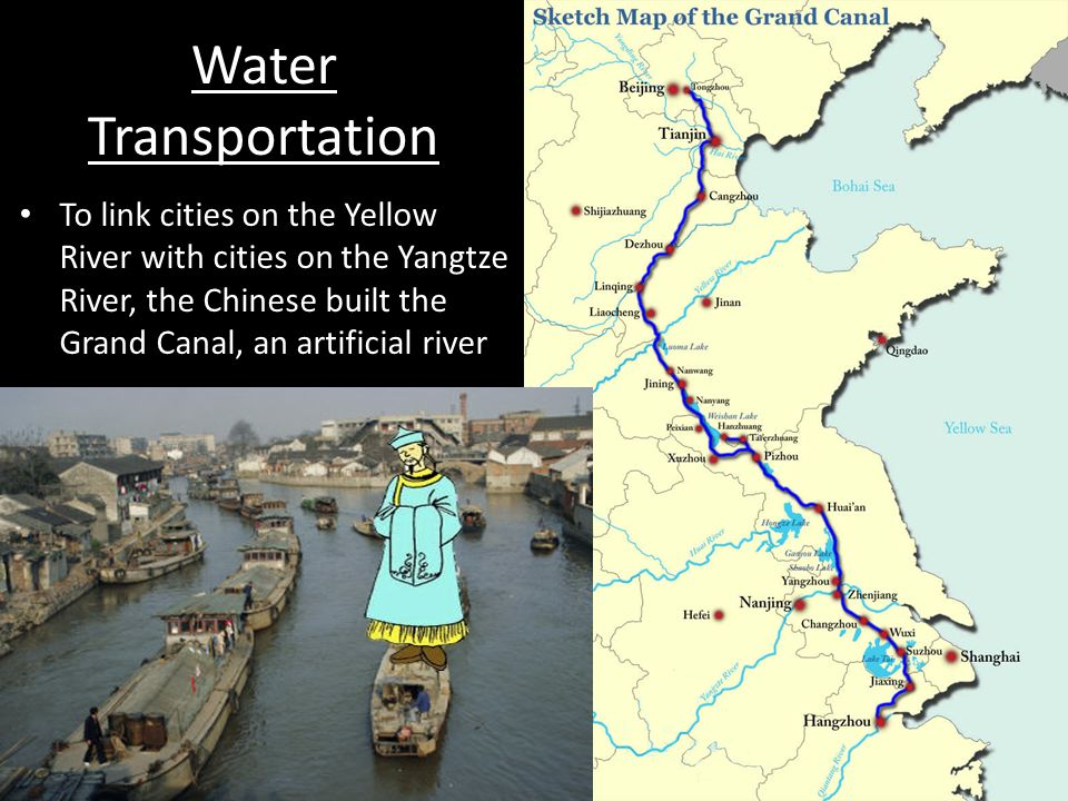 Water Transportation To link cities on the Yellow River with cities on the Yangtze River, the Chinese built the Grand Canal, an artificial river.