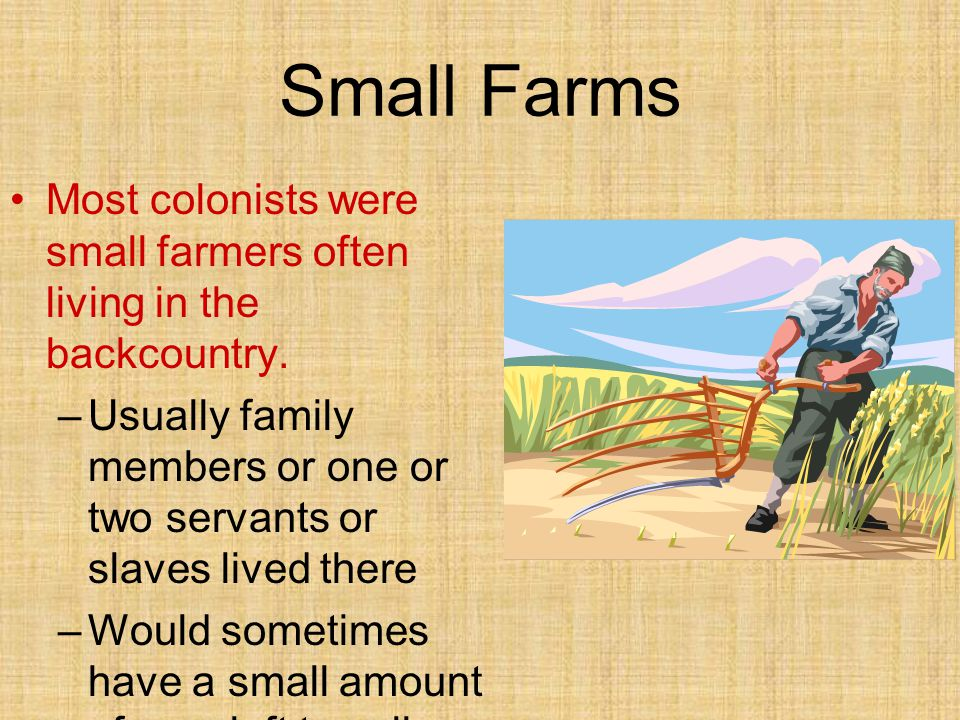 Small Farms Most colonists were small farmers often living in the backcountry. Usually family members or one or two servants or slaves lived there.