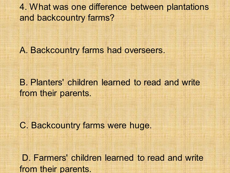 4. What was one difference between plantations and backcountry farms