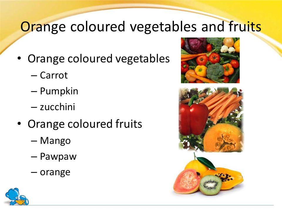 Orange coloured vegetables and fruits