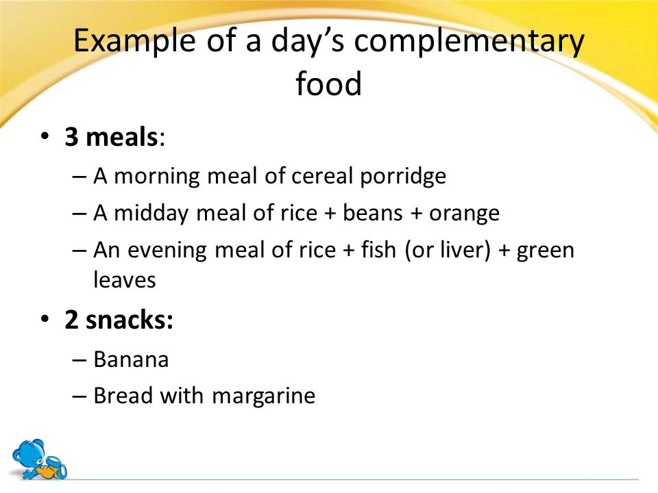 Example of a day's complementary food