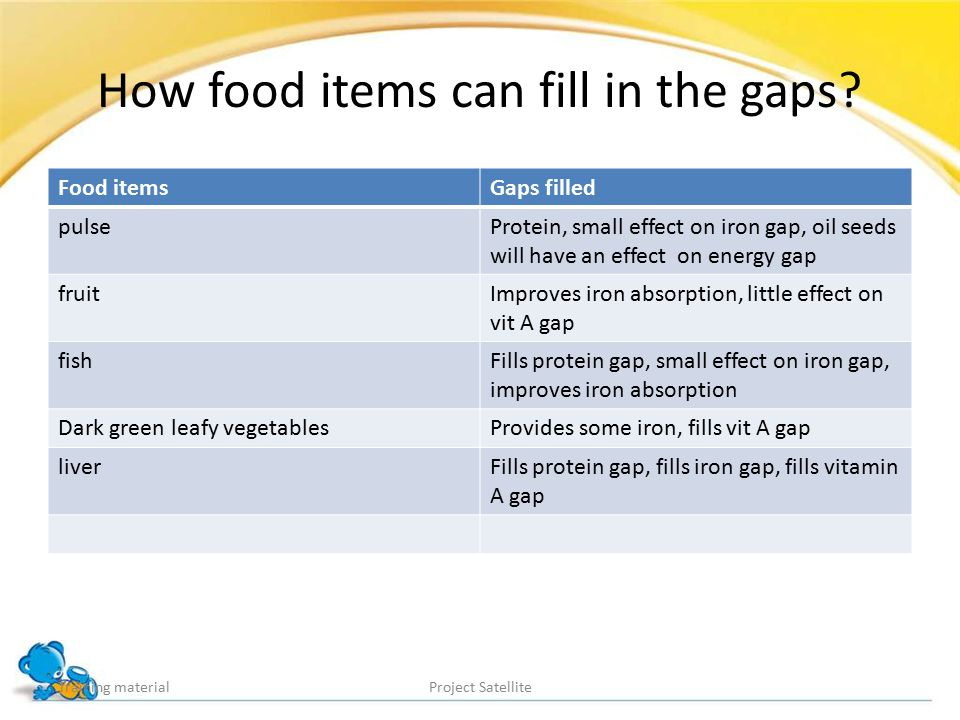 How food items can fill in the gaps