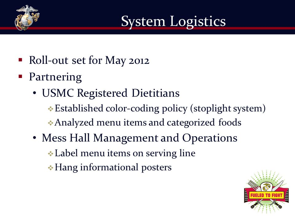 System Logistics Roll-out set for May 2012 Partnering