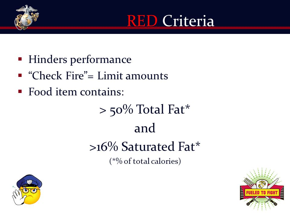 RED Criteria > 50% Total Fat* and >16% Saturated Fat*