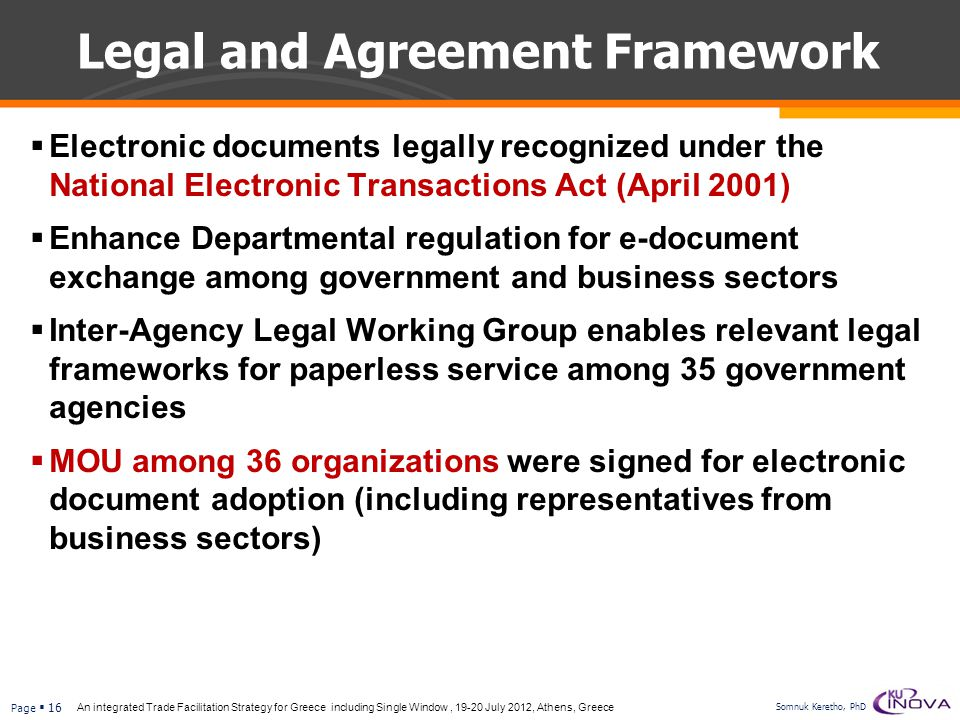 Legal and Agreement Framework