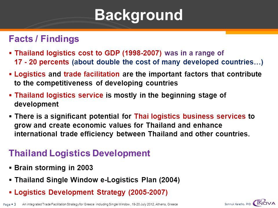 Background Facts / Findings Thailand Logistics Development