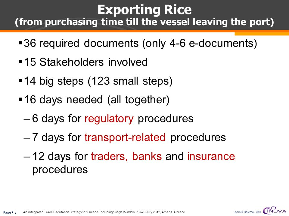 Exporting Rice (from purchasing time till the vessel leaving the port)