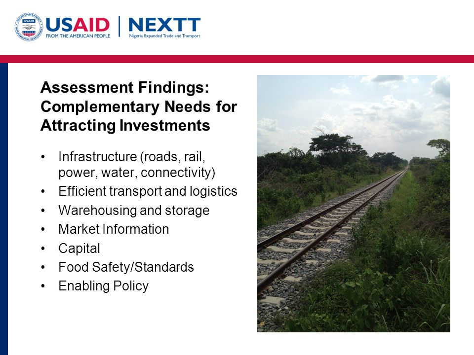 Assessment Findings: Complementary Needs for Attracting Investments