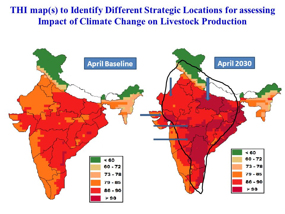 THI map(s) to Identify Different Strategic Locations for assessing Impact of Climate Change on Livestock Production