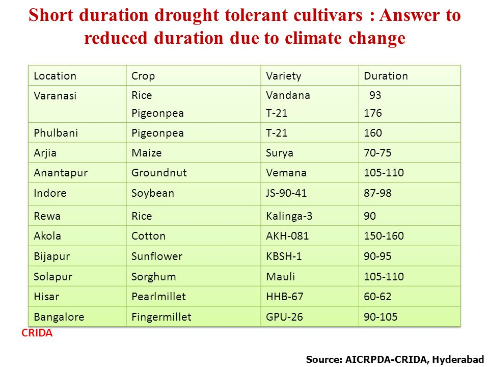 Short duration drought tolerant cultivars : Answer to reduced duration due to climate change