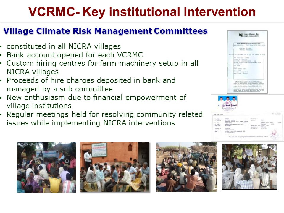 VCRMC- Key institutional Intervention