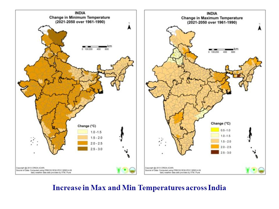Increase in Max and Min Temperatures across India