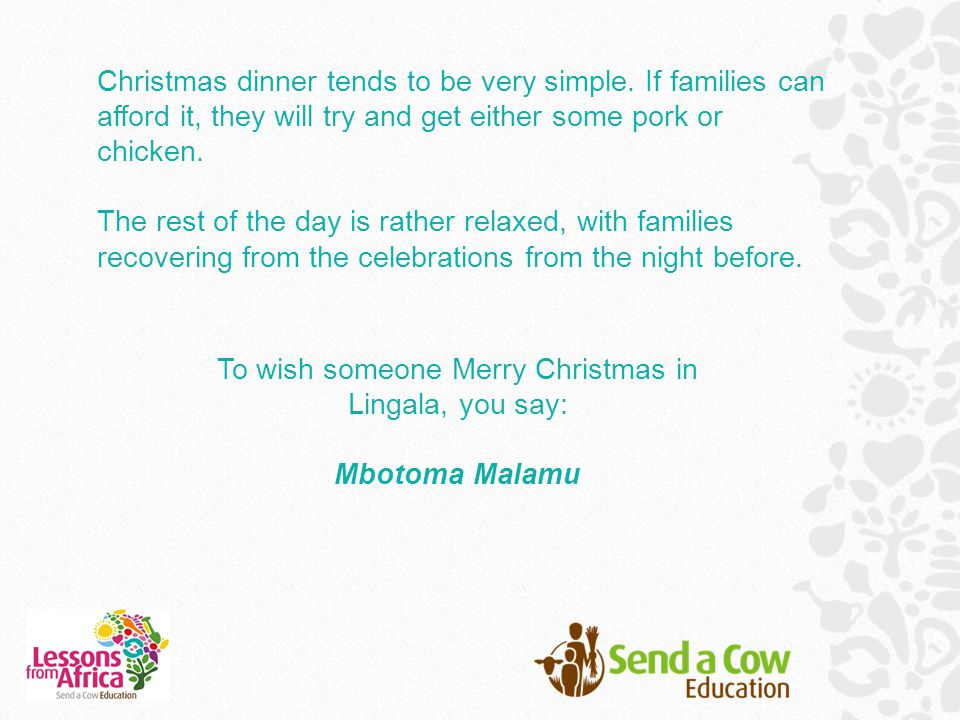 To wish someone Merry Christmas in Lingala, you say: