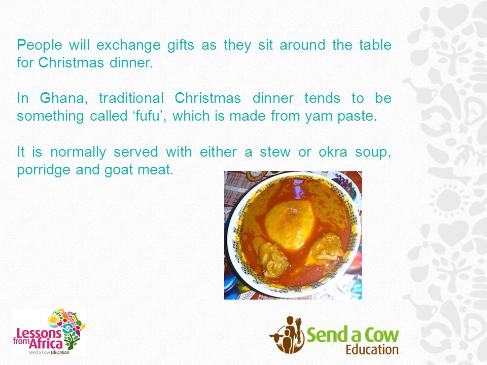 People will exchange gifts as they sit around the table for Christmas dinner.