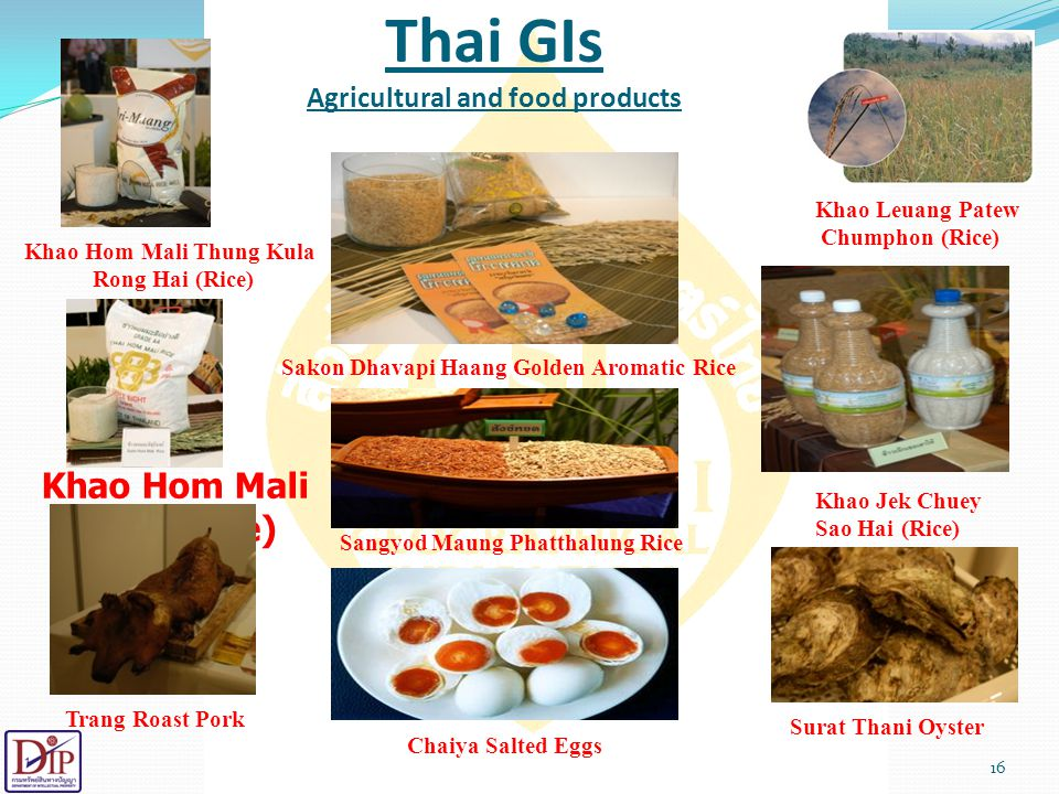 Thai GIs Agricultural and food products