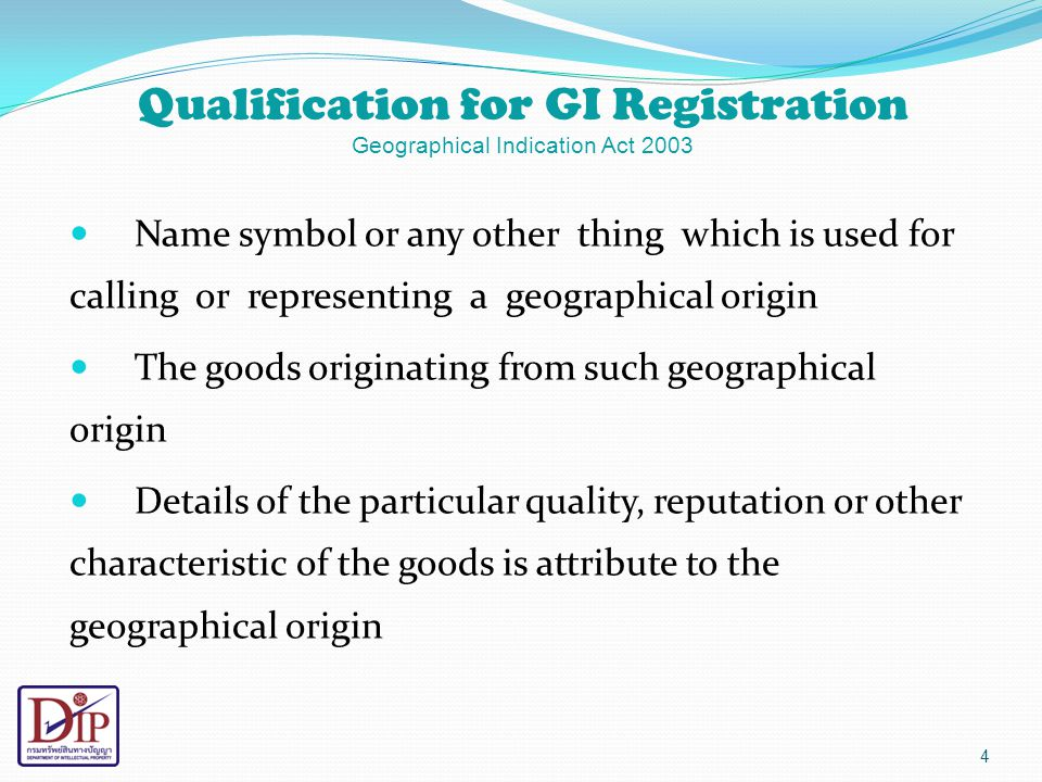 Qualification for GI Registration Geographical Indication Act 2003