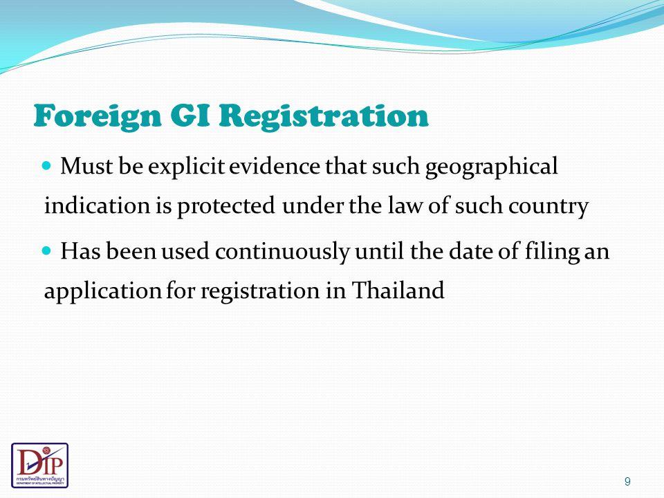 Foreign GI Registration
