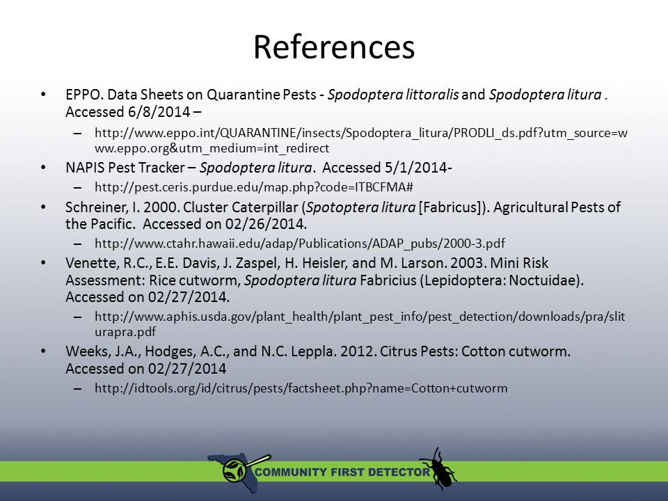 References EPPO. Data Sheets on Quarantine Pests - Spodoptera littoralis and Spodoptera litura . Accessed 6/8/2014 –