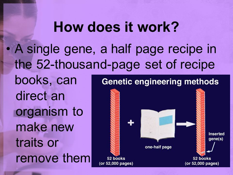 How does it work A single gene, a half page recipe in the 52-thousand-page set of recipe books, can.