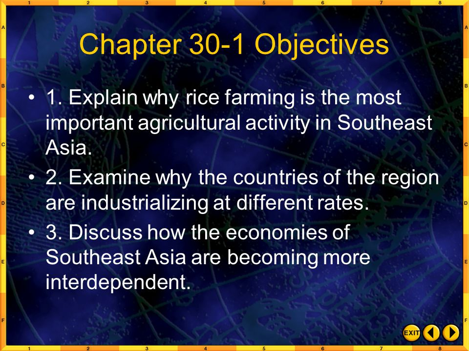 Chapter 30-1 Objectives 1. Explain why rice farming is the most important agricultural activity in Southeast Asia.
