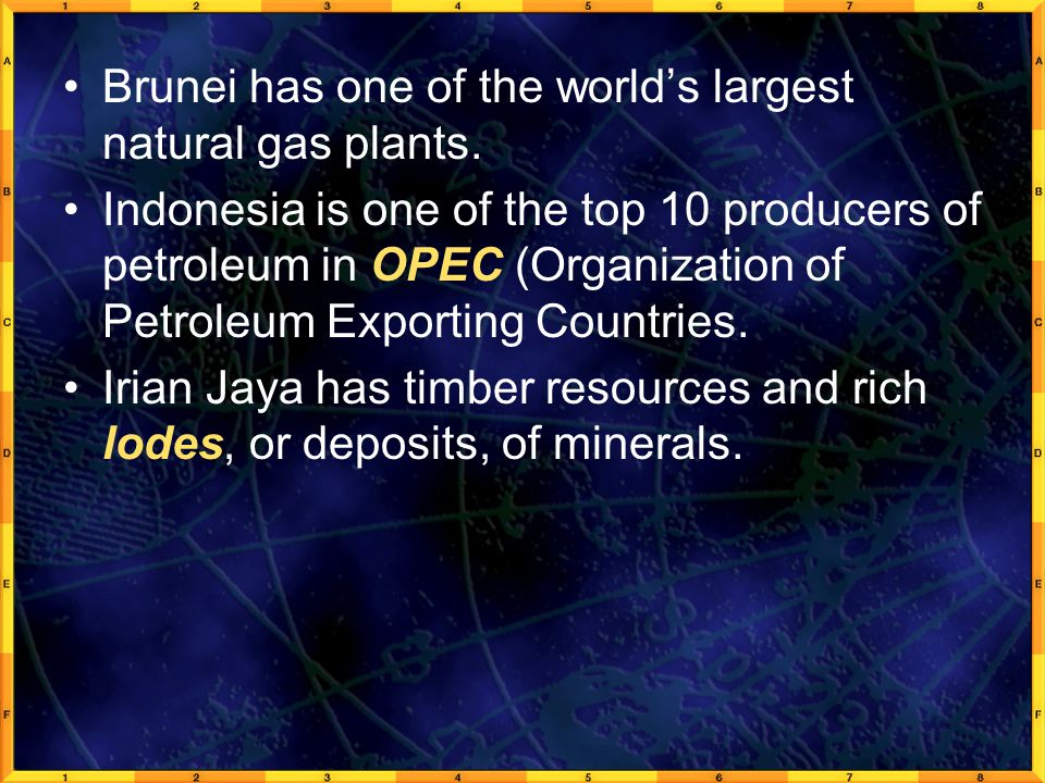 Brunei has one of the world's largest natural gas plants.