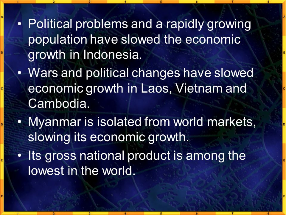 Political problems and a rapidly growing population have slowed the economic growth in Indonesia.