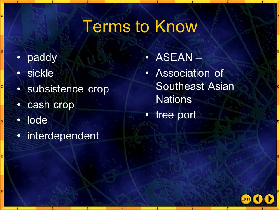 Terms to Know paddy sickle subsistence crop cash crop lode