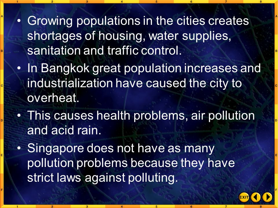 Growing populations in the cities creates shortages of housing, water supplies, sanitation and traffic control.
