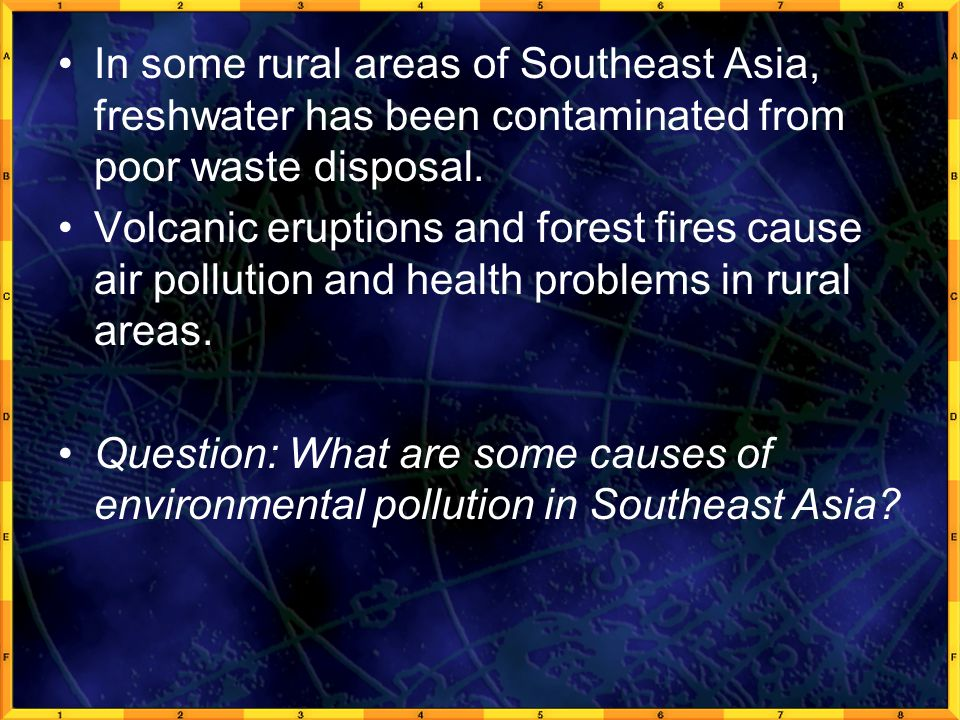 In some rural areas of Southeast Asia, freshwater has been contaminated from poor waste disposal.