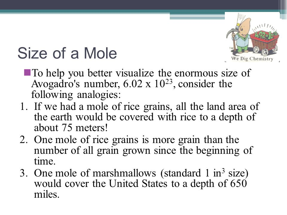 Size of a Mole To help you better visualize the enormous size of Avogadro s number, 6.02 x 1023, consider the following analogies: