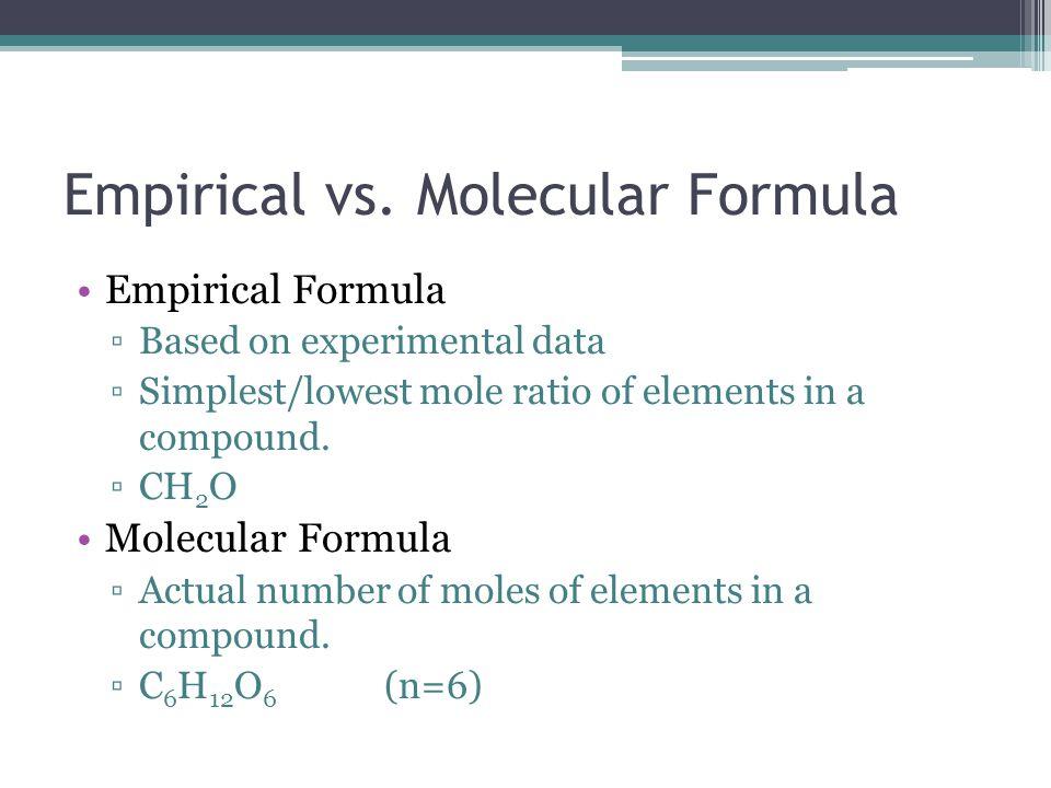 Empirical vs. Molecular Formula