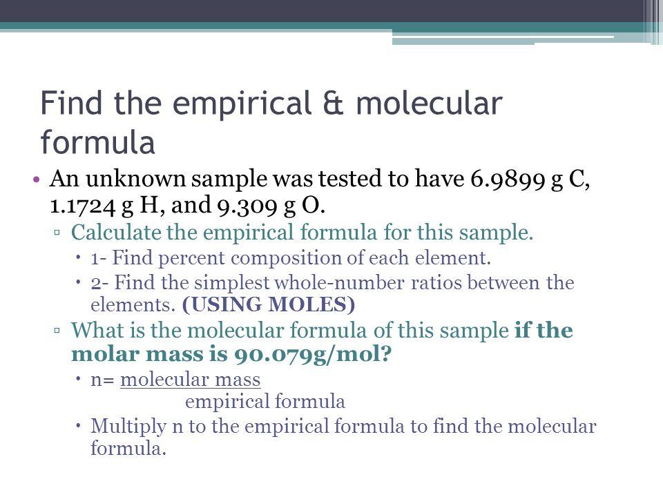 Find the empirical & molecular formula