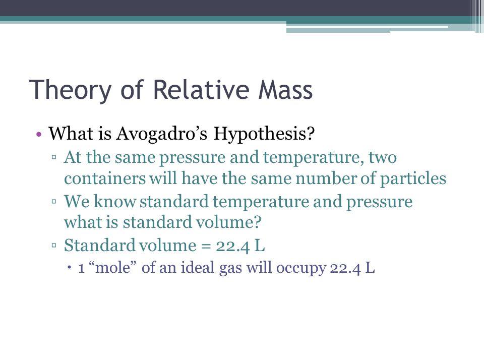 Theory of Relative Mass