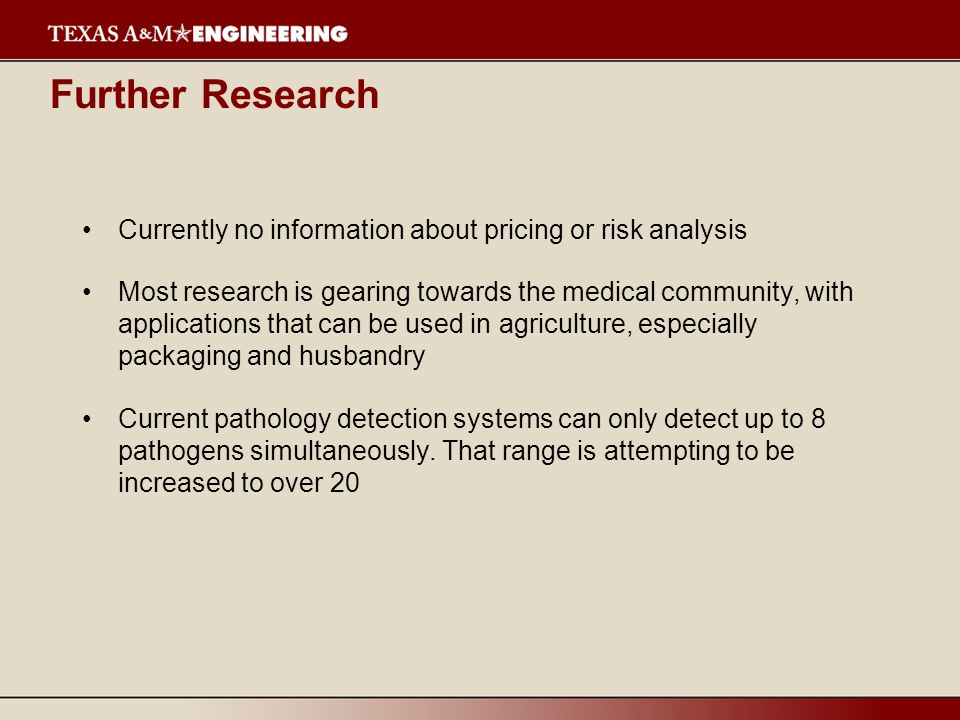 Further Research Currently no information about pricing or risk analysis.