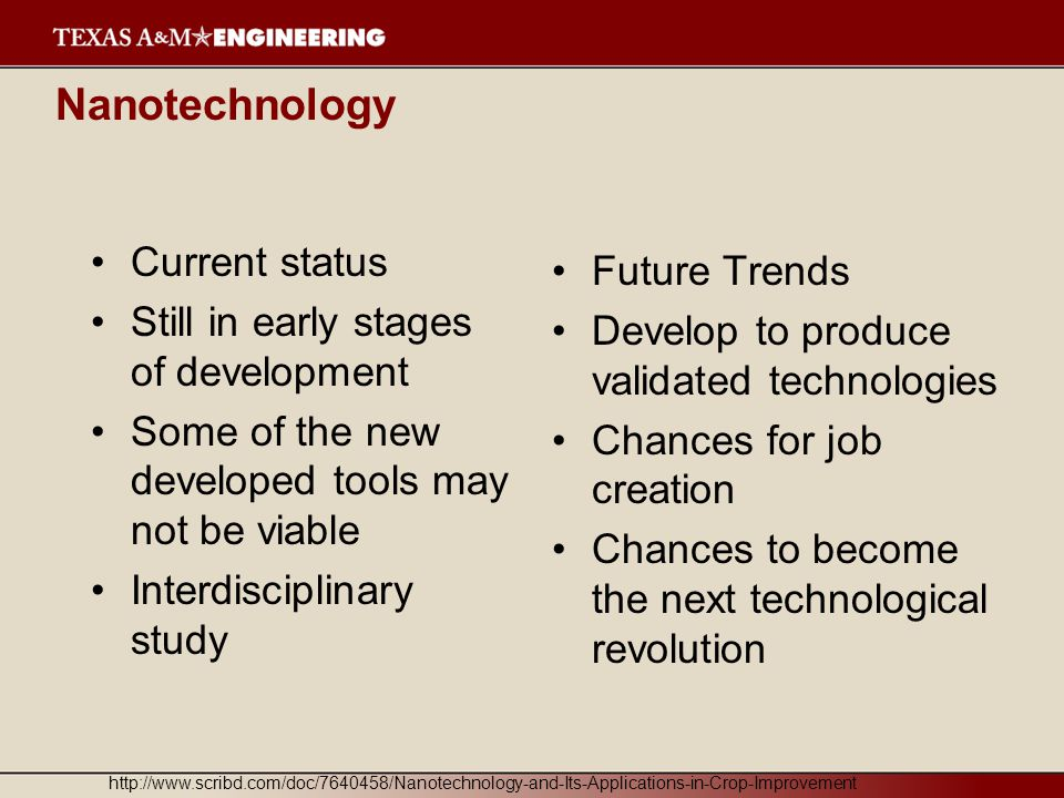 Nanotechnology Current status Future Trends