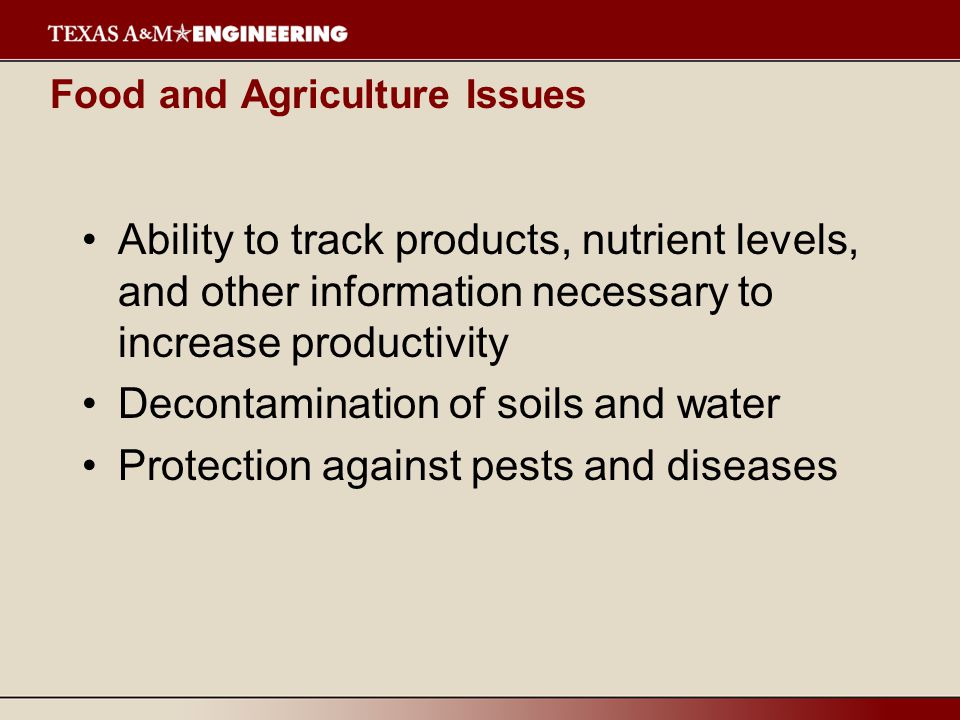 Food and Agriculture Issues