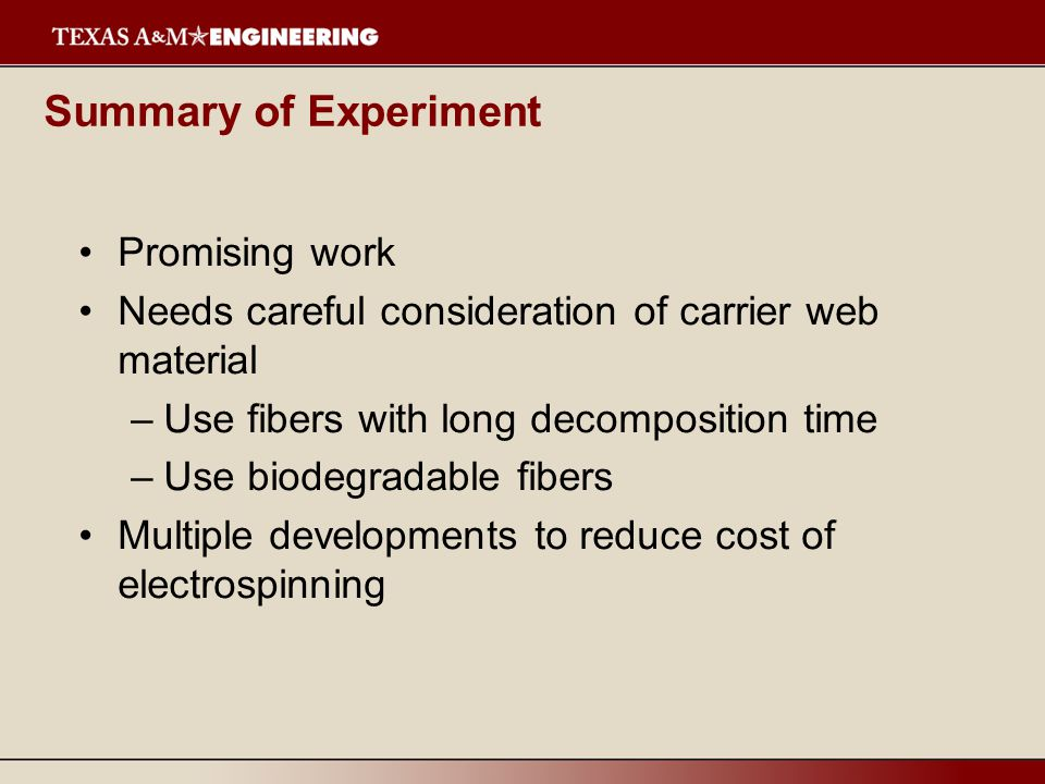 Summary of Experiment Promising work