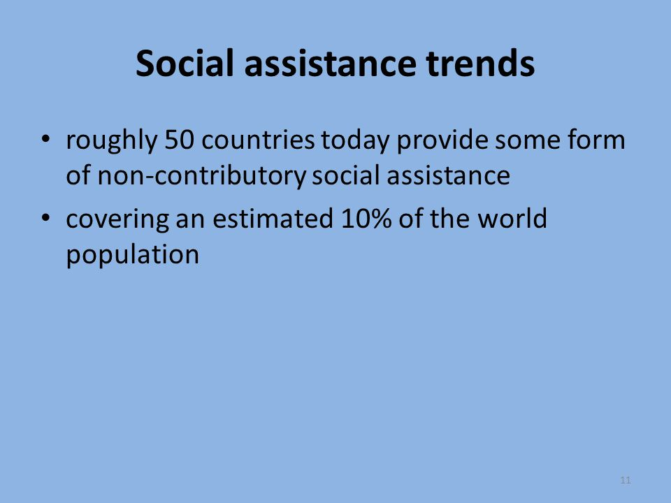 Social assistance trends