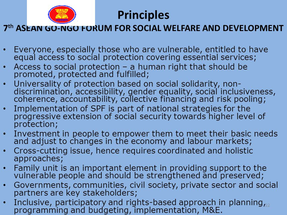 Principles 7th ASEAN GO-NGO FORUM FOR SOCIAL WELFARE AND DEVELOPMENT