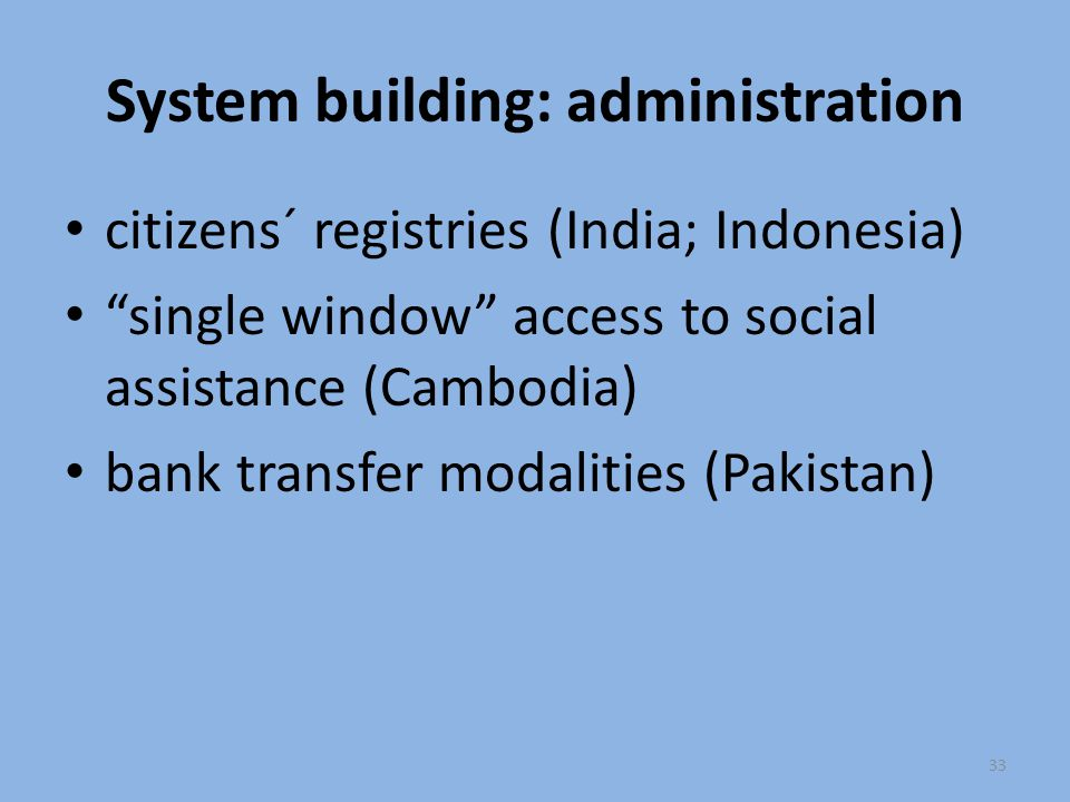 System building: administration