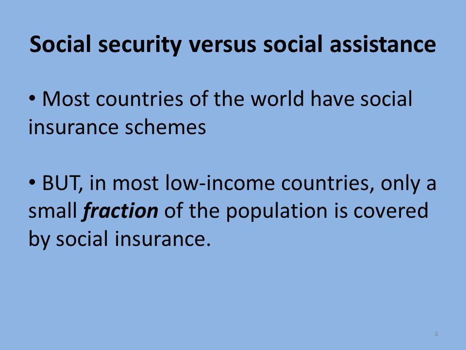 Social security versus social assistance