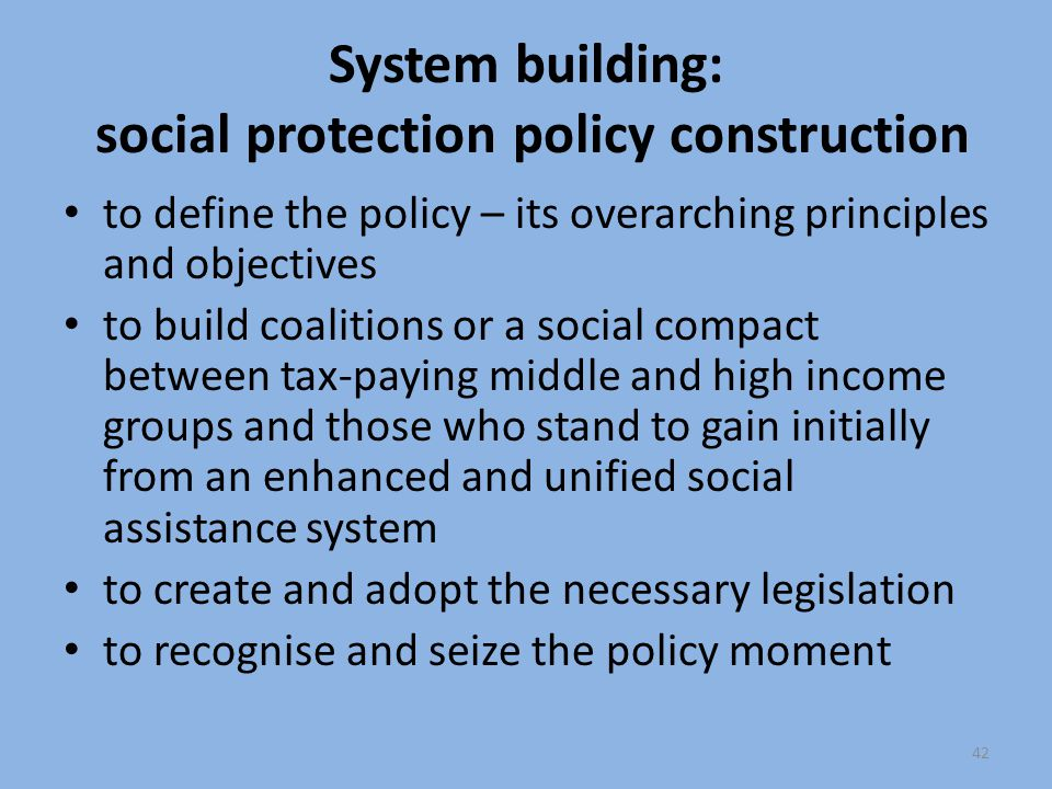 System building: social protection policy construction