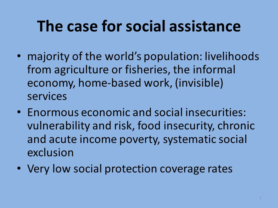 The case for social assistance